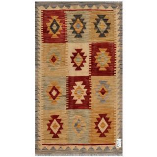 Herat Oriental Afghan Hand-woven Kilim Gold/ Grey Wool Rug (2'11 x 5'4)