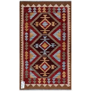 Afghan Hand-woven Kilim Red/ Brown Wool Rug (2'6 x 4'6)