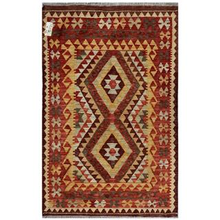 Afghan Hand-woven Kilim Red/ Gold Wool Rug (3'2 x 4'9)