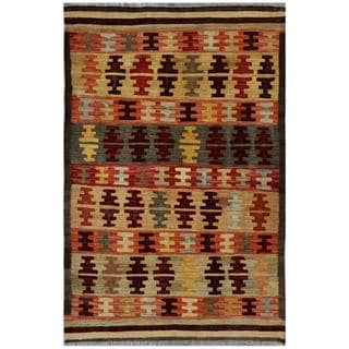 Herat Oriental Afghan Hand-woven Kilim Red/ Tan Wool Rug (3'2 x 4'10)