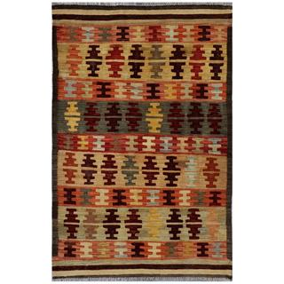 Afghan Hand-woven Kilim Red/ Tan Wool Rug (3'2 x 4'10)
