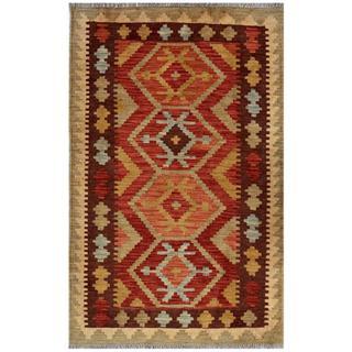Afghan Hand-woven Kilim Red/ Green Wool Rug (3'1 x 4'10)