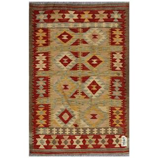 Afghan Hand-woven Kilim Tan/ Red Wool Rug (3' x 4'5)