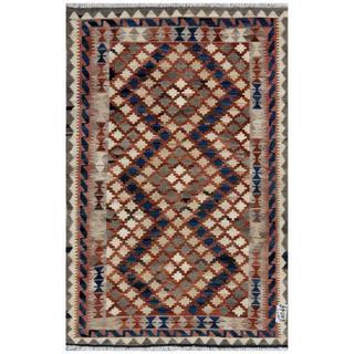 Afghan Hand-woven Kilim Ivory/ Brown Wool Rug (3'3 x 5'1)
