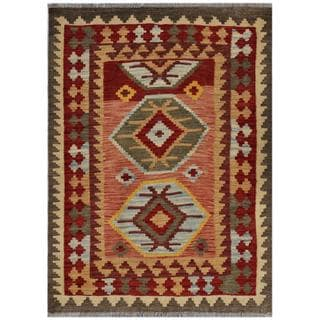 Afghan Hand-woven Kilim Red/ Green Wool Rug (3'3 x 4'7)