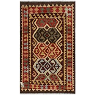 Afghan Hand-woven Kilim Brown/ Red Wool Rug (3' x 4'10)