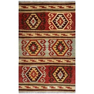Afghan Hand-woven Kilim Red/ Tan Wool Rug (3' x 4'9)