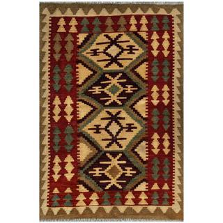 Afghan Hand-woven Kilim Beige/ Red Wool Rug (3'2 x 4'9)