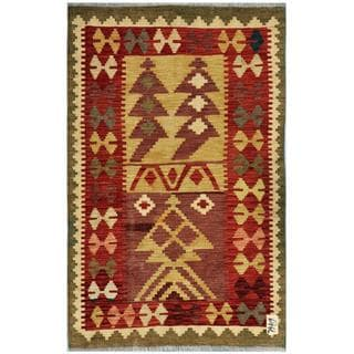 Afghan Hand-woven Kilim Red/ Gold Wool Rug (3'1 x 4'9)