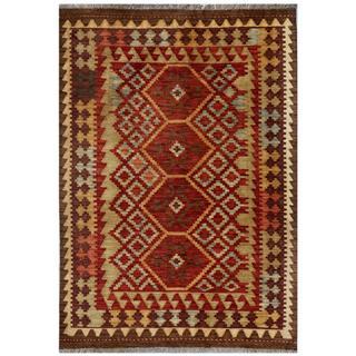 Afghan Hand-woven Kilim Red/ Beige Wool Rug (3'4 x 4'10)
