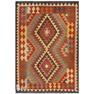 Afghan Hand-woven Kilim Orange/ Tan Wool Rug (3'5 x 4'10)
