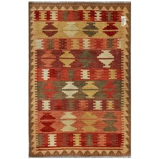 Afghan Hand-woven Kilim Red/ Brown Wool Rug (3'2 x 4'9)
