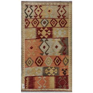 Afghan Hand-woven Kilim Beige/ Maroon Wool Rug (2'10 x 4'11)