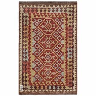 Afghan Hand-woven Kilim Red/ Tan Wool Rug (3'3 x 5'1)