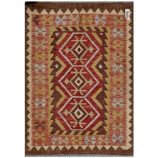 Afghan Hand-woven Kilim Brown/ Rust Wool Rug (3'4 x 4'9)