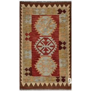 Afghan Hand-woven Kilim Red/ Beige Wool Rug (2'11 x 5')