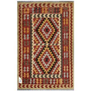 Afghan Hand-woven Kilim Rust/ Gold Wool Rug (3' x 4'10)