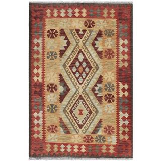 Herat Oriental Afghan Hand-woven Kilim Gold/ Rose Wool Rug (3'3 x 4'10)
