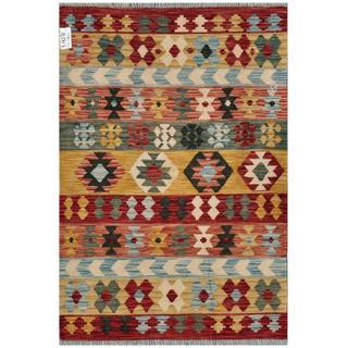 Afghan Hand-woven Kilim Red/ Gold Wool Rug (3'4 x 4'10)