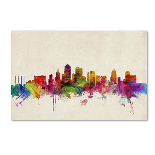 Michael Tompsett 'Kansas City Watercolor Skyline' Canvas Art