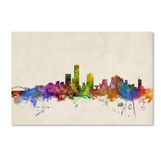 Michael Tompsett 'Milwaukee Watercolor Skyline' Canvas Art