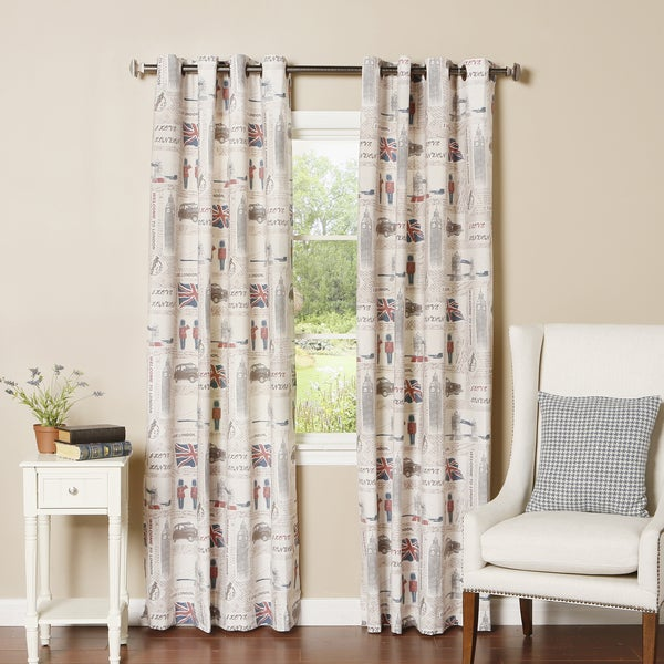 Lights Out London Print Grommet Top Oxford Curtain Panel Pair