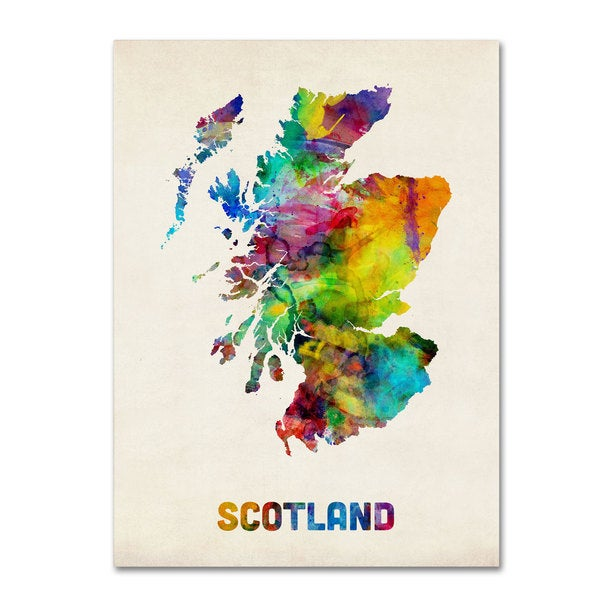 Michael Tompsett 'Scotland Watercolor Map' Canvas Art
