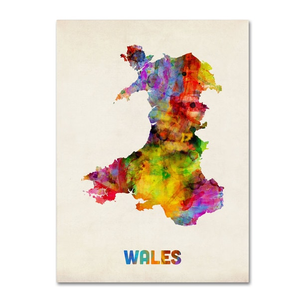 Michael Tompsett 'Wales Watercolor Map' Canvas Art