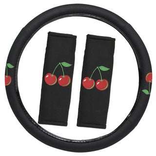 Oxgord Fruit Cherry Cherries Steering Wheel Cover with Seat Belt Pads Set