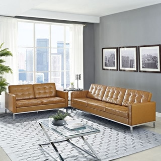 Modway 'Loft' Tan Leather Tufted Loveseat and Sofa Set