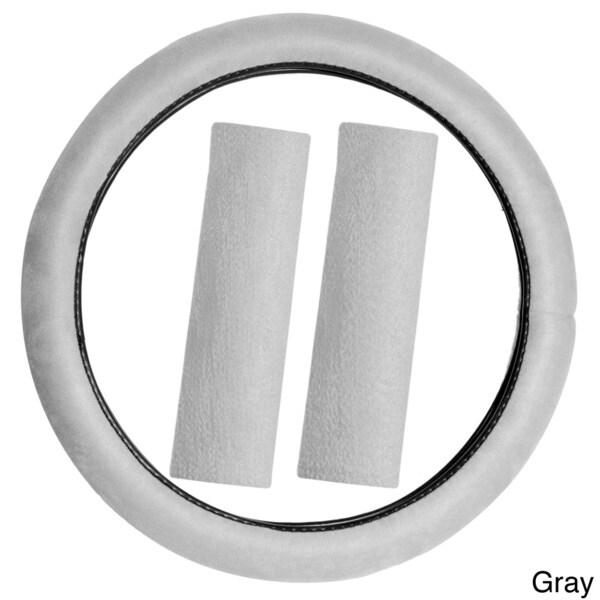 Oxgord Memory Foam Steering Wheel Cover with Seat Belt Pads Set