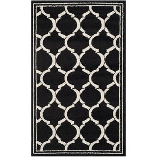 Safavieh Amherst Indoor/ Outdoor Anthracite/ Ivory Rug (4' x 6')