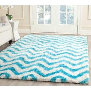 Safavieh Handmade Barcelona Shag White/ Blue Polyester Rug (4' x 6')