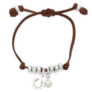 Sunstone Catherine Canino Adjustable Suede Pearl Horseshoe Bracelet
