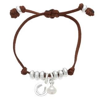 Sunstone Catherine Canino Adjustable Suede Pearl Horseshoe Bracelet