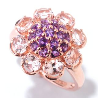 14k Rose Gold 1 7/8ct Morganite and Amethyst Flower Ring