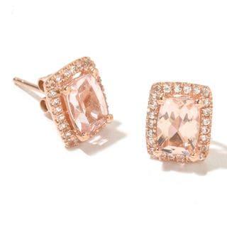 14k Rose Gold Morganite and Diamond Cut White Topaz Cushion-cut Stud Earrings
