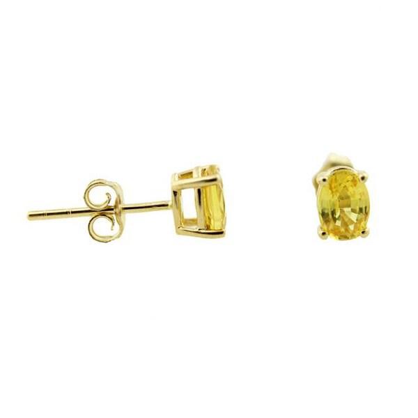 14k Yellow Gold Oval Yellow Sapphire Stud Earrings