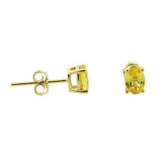 14k Yellow Gold Oval Yellow Sapphire Stud Earrings