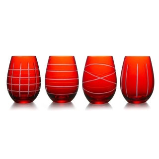 Medallion Red Stemless Goblets (Set of 4)