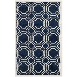 Safavieh Amherst Indoor/ Outdoor Navy/ Ivory Rug (2'6 x 4')