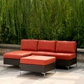 angelo:HOME Napa Springs Tulip Red 3 Piece Sectional Indoor/Outdoor Resin Wicker