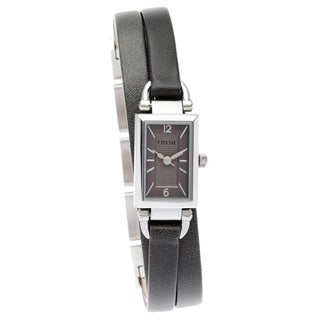 Fossil Women's JR1371 Delaney Three Hand Black Leather Watch