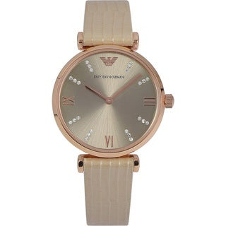 Emporio Armani Women's AR1681 'Retro' Crystal White Leather Watch