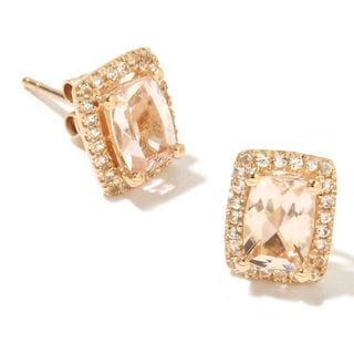 14k Yellow Gold Morganite and White Topaz Cushion-cut Stud Earrings