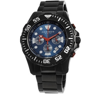 Akribos XXIV Men's Quartz Chronograph Stainless Steel Black Bracelet Watch