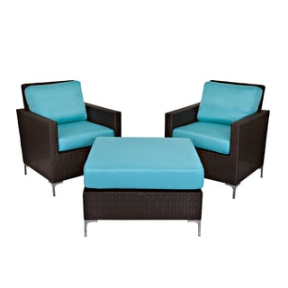 angelo:HOME Napa Springs Meditreranean Ocean Blue 3 Piece Set Indoor/Outdoor Resin Wicker