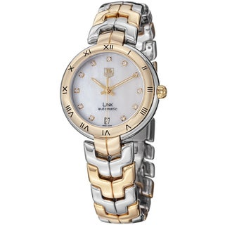 Tag Heuer Women's 'Link' Mother Of Pearl Diamond Dial Automatic Watch WAT2351.BB0957