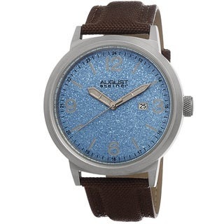 August Steiner Men's Quartz Sparkling Matte Dial Canvas Strap Watch