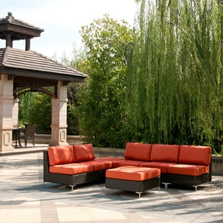 angelo:HOME Napa Springs Tulip Red 5 Piece Sectional Indoor/Outdoor Resin Wicker